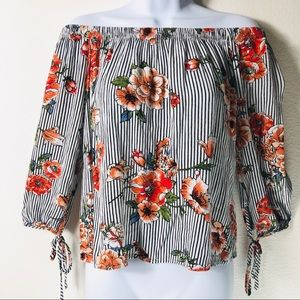 Active USA Off the Shoulder Floral Striped Blouse